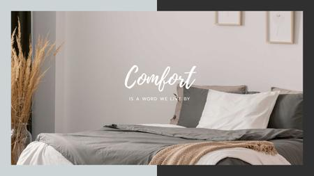 Plantilla de diseño de Comfortable Bedroom in grey colors Youtube