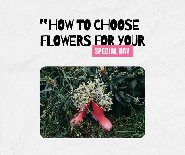 Plantilla de diseño de Cute Summer Flowers in Boots Facebook