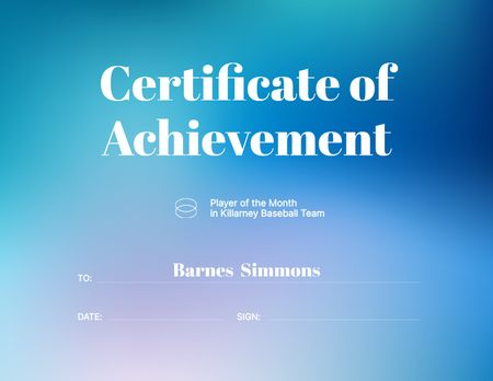 Baseball Player of Month Award Certificate Πρότυπο σχεδίασης