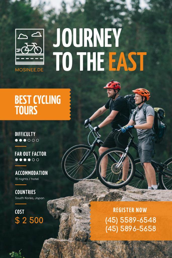 Szablon projektu Cycling Tour Offer with Couple Admiring Mountains Tumblr