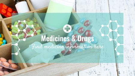 Medicine information with Pills in box Title Modelo de Design