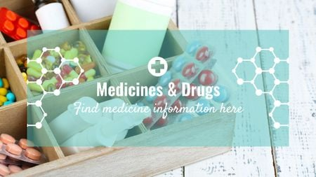 Plantilla de diseño de Medicine information with Pills in box Title