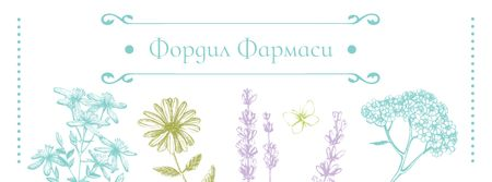 Pharmacy Ad with Natural Herbs Sketches Facebook cover – шаблон для дизайна