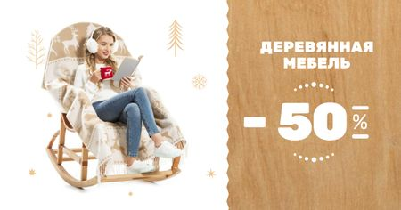 Furniture offer Girl in Armchair Reading Facebook AD – шаблон для дизайна