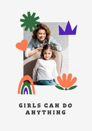 Girl Power Inspiration with Woman holding Happy Child Poster Modelo de Design