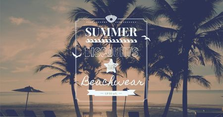 Template di design Summer Trip Offer Palm Trees at sunset Facebook AD