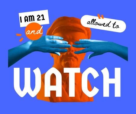 Funny Illustration about Age Censorship Facebook Modelo de Design