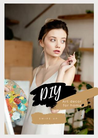 Template di design Art Decor for Home with Girl Artist Poster