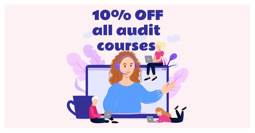 Audit Courses Offer with Woman on Laptop Screen — Modelo de projeto
