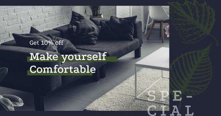 Modèle de visuel Cozy modern interior in grey - Facebook AD