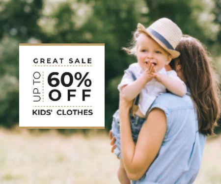 Plantilla de diseño de Kid's Clothes Sale Happy Mother with Her Daughter Medium Rectangle
