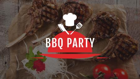 BBQ Party Invitation with Grilled Meat Youtube Modelo de Design