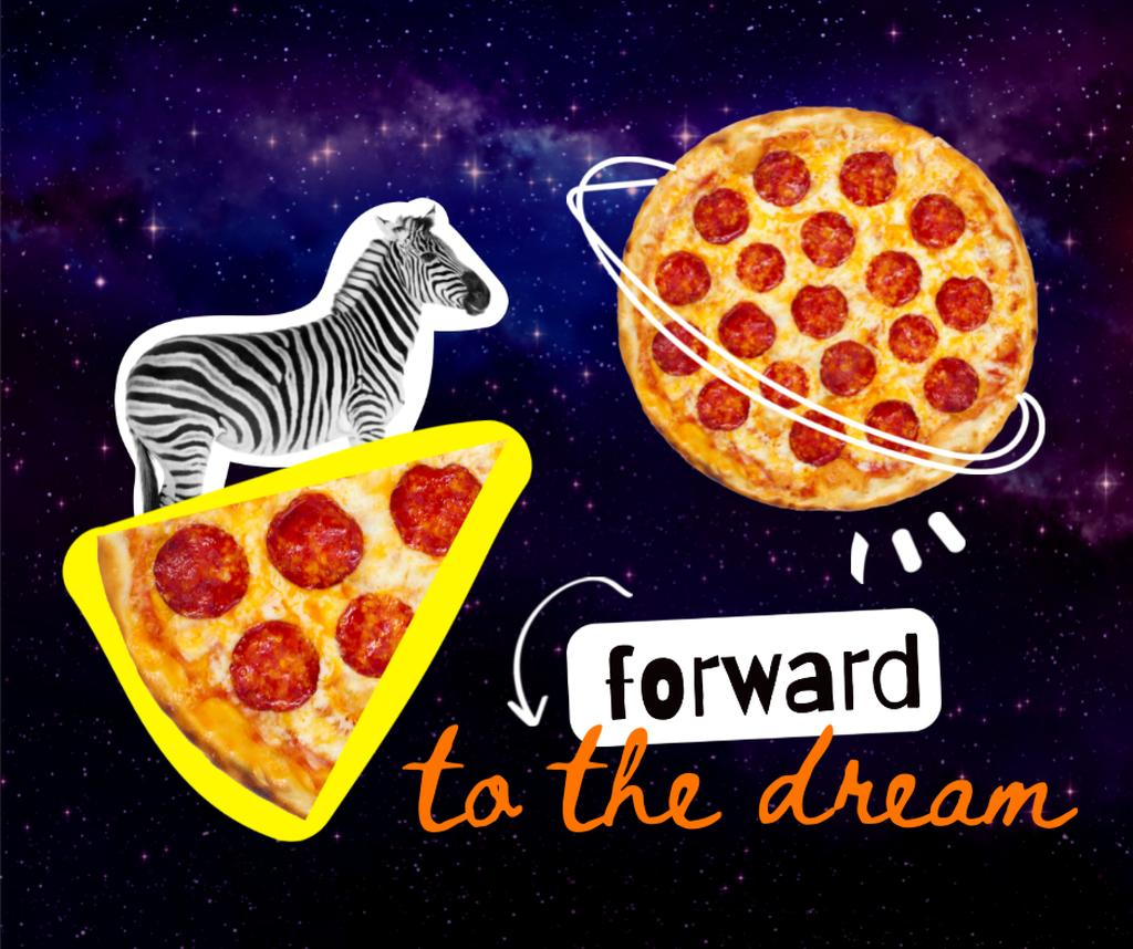 Funny Illustration of Zebra flying on Pizza Facebook – шаблон для дизайну