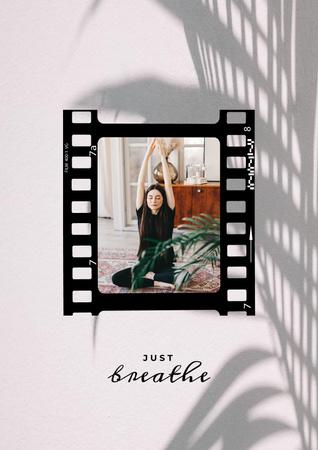Woman practicing Yoga at home Poster – шаблон для дизайну