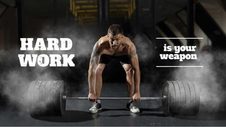 Manhood Inspiration with Strong Man holding Barbell Youtube Thumbnail Modelo de Design