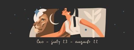 Zodiac Sign with illustration of Woman and Lion Facebook cover Modelo de Design
