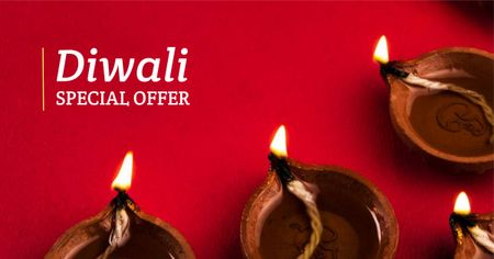 Modèle de visuel Diwali Special Offer in Red - Facebook AD