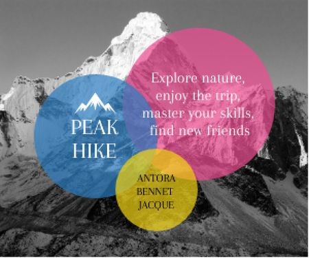 Hike Trip Announcement Scenic Mountains Peaks Medium Rectangle Design Template