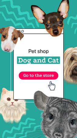 Modèle de visuel Pet Shop Offer with Cute Animals - Instagram Story