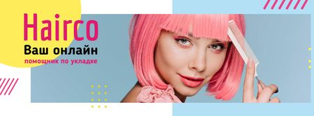 Styling Assistant Offer with Pink-haired Woman Facebook cover – шаблон для дизайна