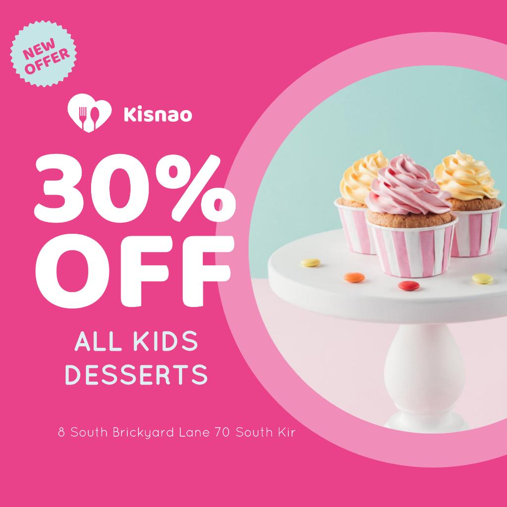 Kids Desserts Offer Sweet Cupcakes Instagram Modelo de Design