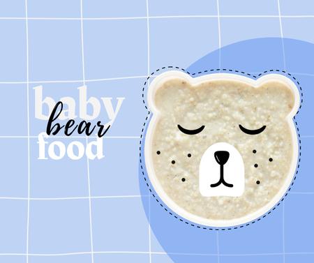 Baby Food Offer with Cute Sleeping Bear Facebook – шаблон для дизайну