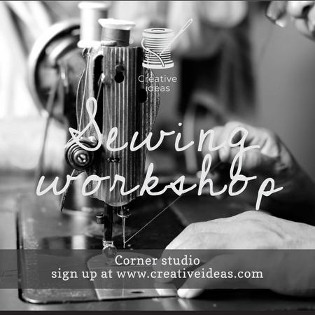 Ontwerpsjabloon van Instagram van Sewing Workshop Ad Tailor at Sewing Machine