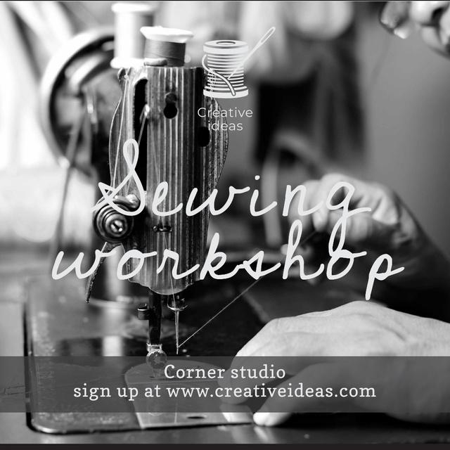 Sewing Workshop Ad Tailor at Sewing Machine Instagram – шаблон для дизайну