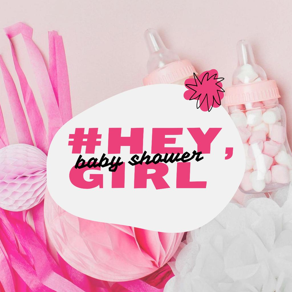 Baby Shower Holiday Announcement with Pink Things Instagram – шаблон для дизайна