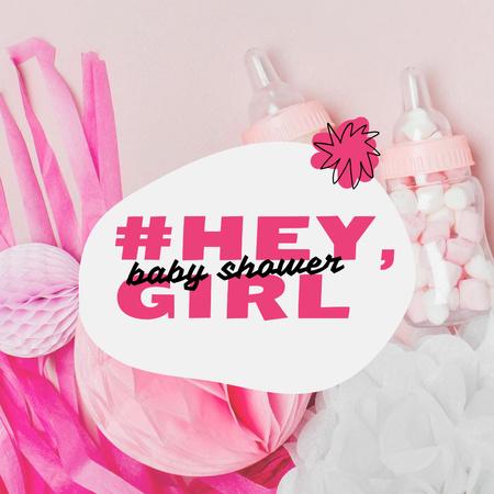 Plantilla de diseño de Baby Shower Holiday Announcement with Pink Things Instagram