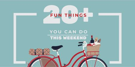 Plantilla de diseño de Weekend Ideas with Red Bicycle with Food Twitter