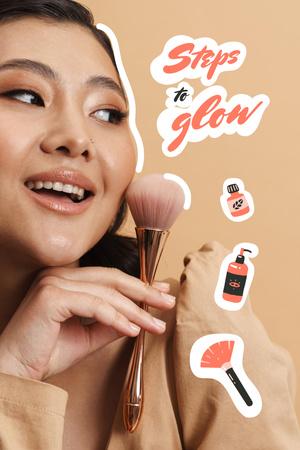 Plantilla de diseño de Beauty Ad with Woman applying Makeup Pinterest