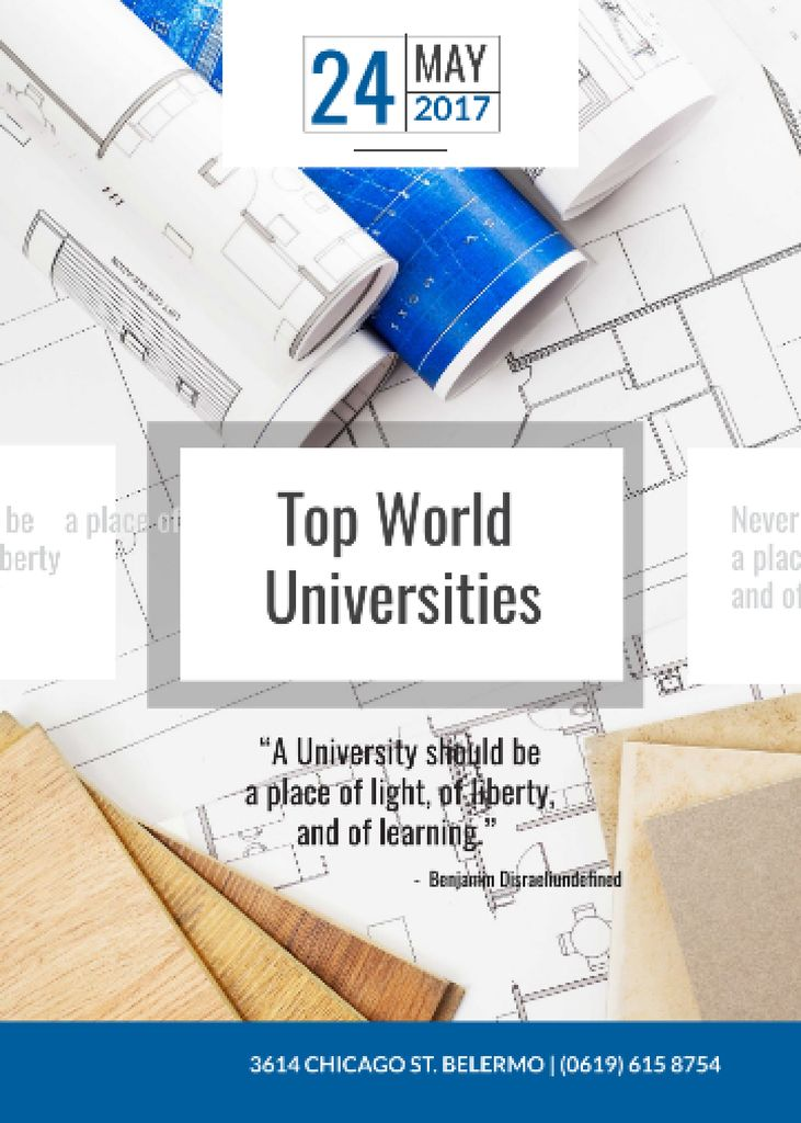 Ontwerpsjabloon van Invitation van Universities guide on Blueprints