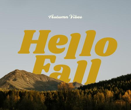 Autumn Greeting with Mountain Forest Facebook – шаблон для дизайна