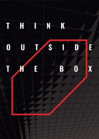 Ontwerpsjabloon van Flayer van Think outside the box Quote on black tiles