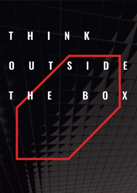 Think outside the box Quote on black tiles Flayerデザインテンプレート