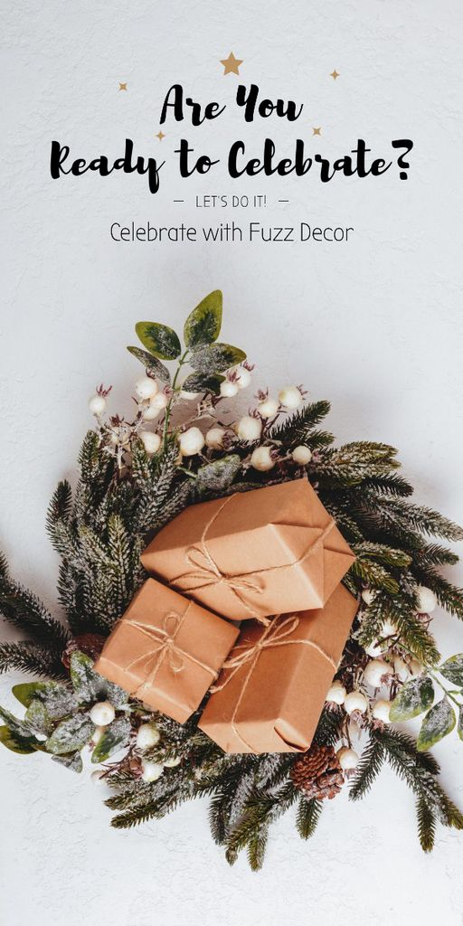 Decorative Christmas wreath with gifts — Create a Design