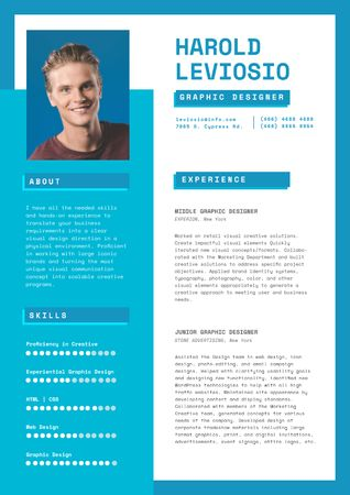 Ontwerpsjabloon van Resume van Professional Graphic Designer Profile