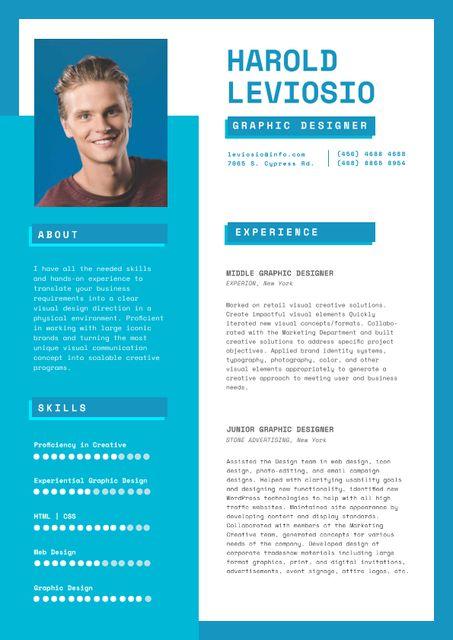 Ontwerpsjabloon van Resume van Professional Graphic Designer Profile
