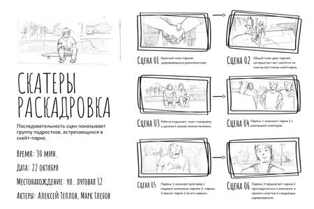 Teenagers in Skate park Storyboard – шаблон для дизайна