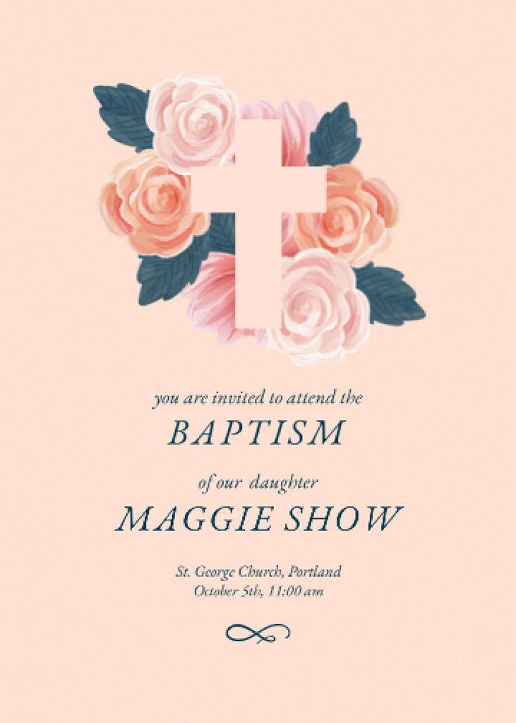 Baptism Ceremony Announcement with Tender Roses Invitation – шаблон для дизайна