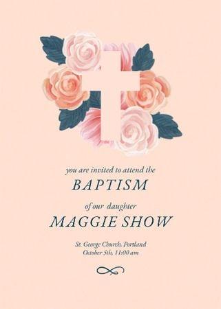 Baptism Ceremony Announcement with Tender Roses Invitation – шаблон для дизайну