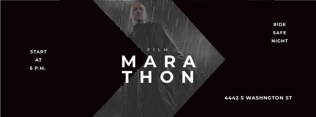 Film Ad with Man with Gun under Rain — Create a Design