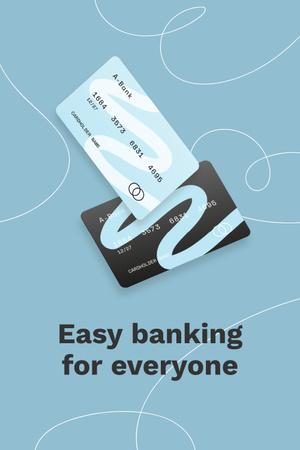 Banking Services ad with Credit Cards Pinterest Tasarım Şablonu