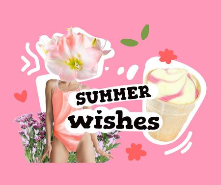 Plantilla de diseño de Funny Illustration of Ice Cream and Woman with Flower Head Facebook