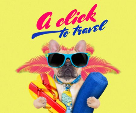 Modèle de visuel Funny Dog in Sunglasses on Vacation - Large Rectangle