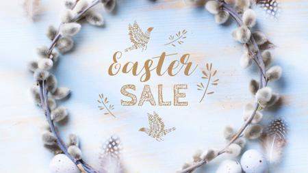 Modèle de visuel Easter Greeting with willow wreath - Full HD video
