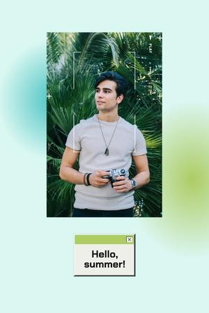 Summer Inspiration with Handsome Man holding Camera Pinterest Design Template