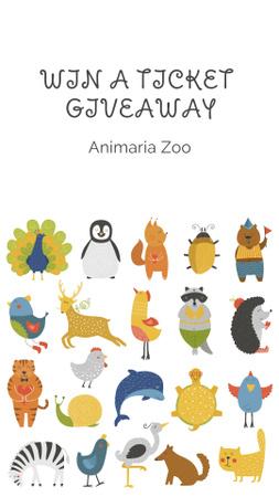 Plantilla de diseño de Zoo tickets giveaway with Animals Icons Instagram Story