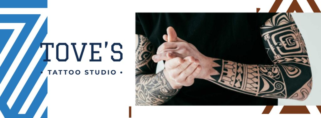 Tattoo Studio ad Young tattooed Man — Modelo de projeto